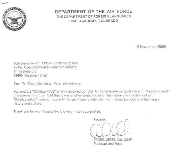 US Air Force Dankesschreiben